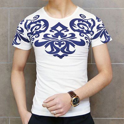 Fashion Round Neck Slimming Retro Totem Print Short Sleeve Cotton Blend T-Shirt For Men