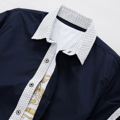 Refreshing Turn-down Collar Polka Dot Splicing Slimming Short Sleeves Men
