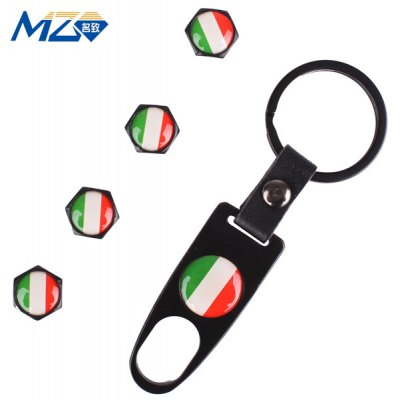 Key Ring + 4pcs Auto Inflating Valve with Italy Flag Pattern