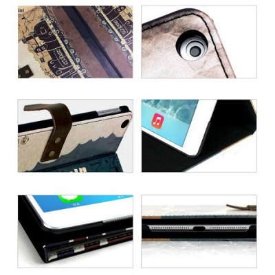 Фотография Love Train Design Pad Cover PU Case Skin with Stand Function for iPad Air / 5