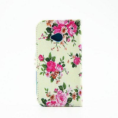 Гаджет   Painting Flowers Pattern Phone Cover PU Case Skin with Stand Function for HTC One M7 Other Cases/Covers
