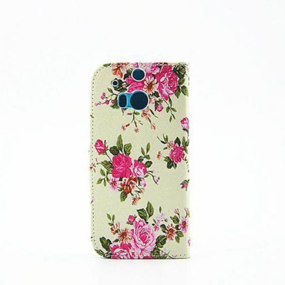ФОТО Painting Flowers Pattern Phone Cover PU Case Skin with Stand Function for HTC One M8