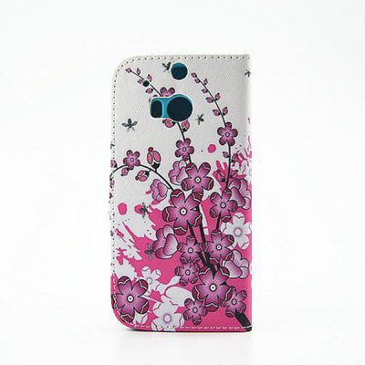 ФОТО Painting Purple Flowers Pattern Phone Cover PU Case Skin with Stand Function for HTC One M8