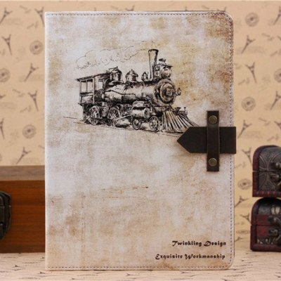 ФОТО PU and PC Material Nostalgia Steam Train Pattern Protective Cover Case with Stand for iPad Air