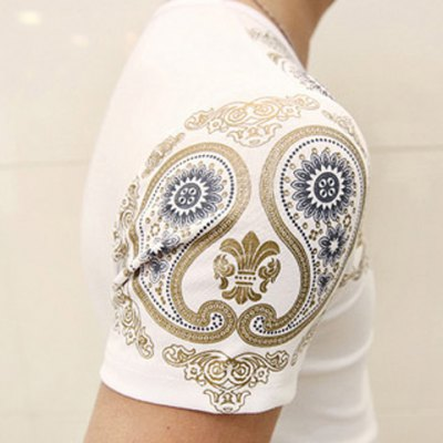 Фотография Personality Paisley Print Round Neck Solid Color Slimming Short Sleeves Men