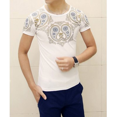 Personality Paisley Print Round Neck Solid Color Slimming Short Sleeves Men