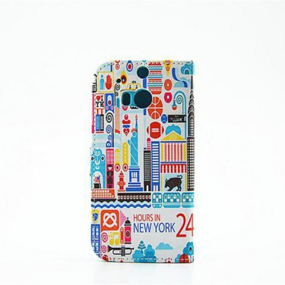 Гаджет   Painted Architecture Pattern Phone Cover PU Case Skin with Stand Function for HTC One M8 Other Cases/Covers