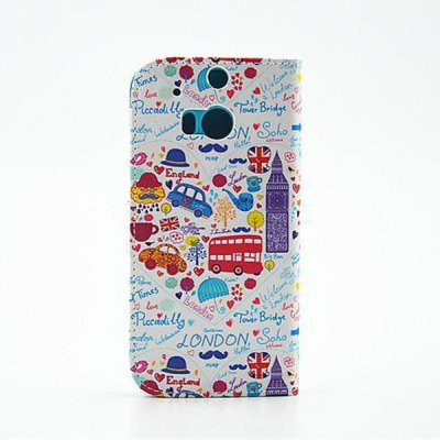 Гаджет   Painted Cartoon Pattern Phone Cover PU Case Skin with Stand Function for HTC One M8 Other Cases/Covers