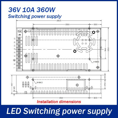 Фотография AC 110 / 220V to DC 36V 360W 10A Switching Power Supply for LED Tape Light