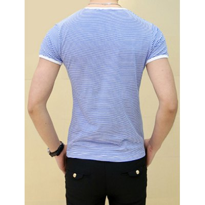Фотография Refreshing Round Neck Slimming Classic Stripes Print Short Sleeves Men