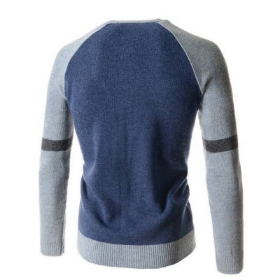 ФОТО Fashion V-Neck Slimming Color Block Splicing Long Sleeve Polyester Cardigan For Men