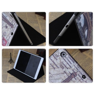ФОТО PU and PC Material Eiffel Tower and Postcard Pattern Protective Cover Case with Stand for iPad Air