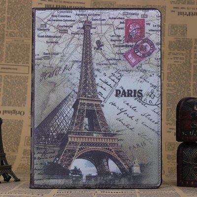 ФОТО PU and PC Material Eiffel Tower Pattern Protective Cover Case with Stand for iPad Air
