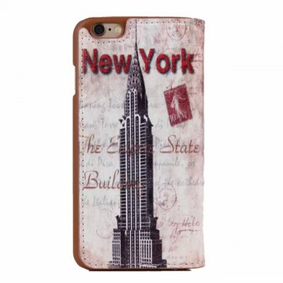 Гаджет   Stand Design Chrysler Building Pattern Phone Cover Case of PU and PC Material for iPhone 6  -  4.7 inch iPhone Cases/Covers