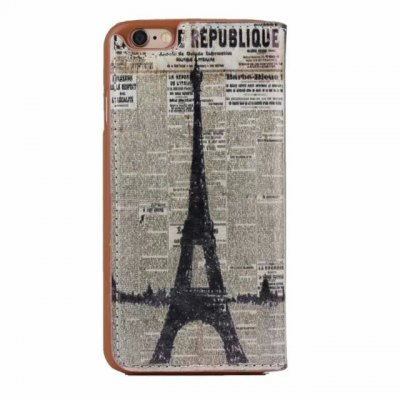 ФОТО Stand Design  Eiffel Tower Pattern Phone Cover Case of PU and PC Material for iPhone 6 Plus  -  5.5 inch