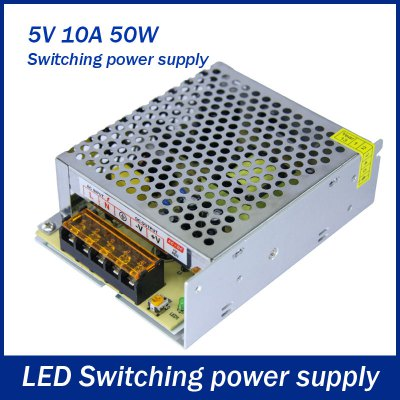 AC 85  -  264V to DC 5V 50W 10A Switching Power Supply for LED Tape LightAC 85  -  264V to DC 5V 50W 10A Switching Power Supply for LED Tape Light<br><br>Wattage (W): &gt;40<br>Product weight: 0.325 kg<br>Package weight: 0.395 kg<br>Product size (L x W x H): 13 x 9.8 x 4 cm / 5.11 x 3.85 x 1.57 inches<br>Package size (L x W x H): 14 x 12 x 5 cm / 5.50 x 4.72 x 1.97 inches<br>Package Contents: 1 x Switching Power Supply