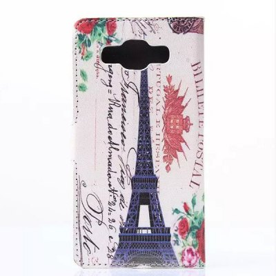 ФОТО Painted Eiffel Tower Pattern Phone Cover PU Case Skin with Card Holder for Samsung GALAXY A5