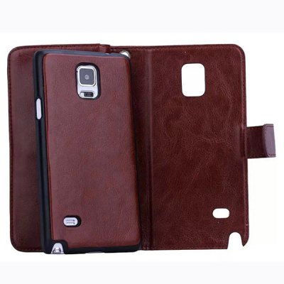 Фотография Crazy Horse Pattern Phone Cover PU Case Skin with Card Slot Function for Samsung GALAXY Note4