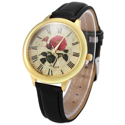 Retro Rose Dial Female Quartz Watch Leather Band Wristwatch