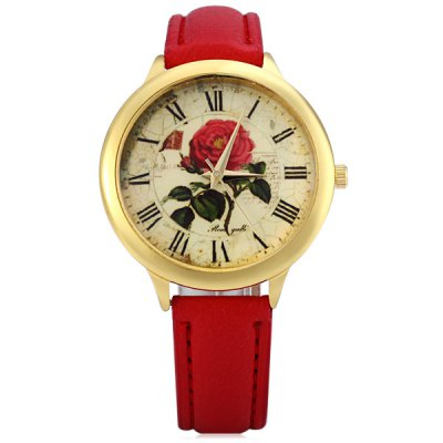 Фотография Retro Rose Dial Female Quartz Watch Leather Band Wristwatch