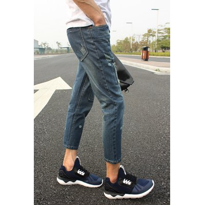 Slimming Stylish Patched Design Polka Dot Print Narrow Feet Denim Nine Minutes of Pants For Men
