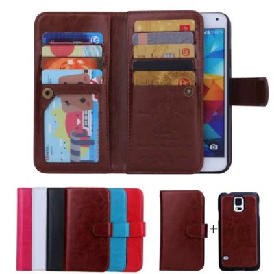 Фотография Crazy Horse Pattern Phone Cover PU Case Skin with Card Slot Function for Samsung GALAXY S5