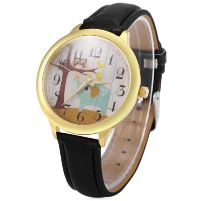 Гаджет   Elephant and Owl Pattern Female Quartz Dress Watch with Leather Band