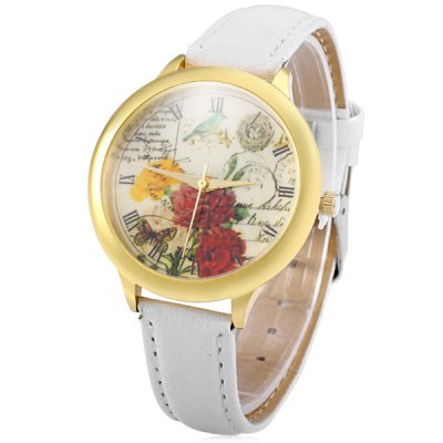 Leather Strap Retro Dial Women Flower Pattern Quartz Watch