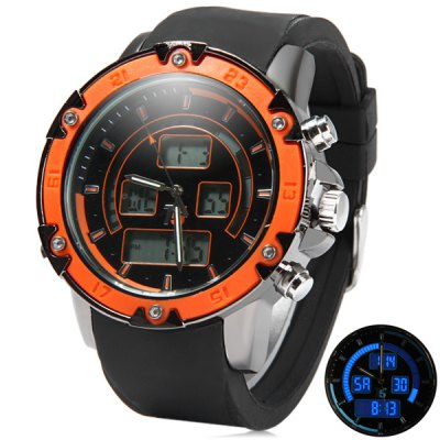 ФОТО T5 3306 Water Resistance Multifunction Dual Movt LED Sports Watch