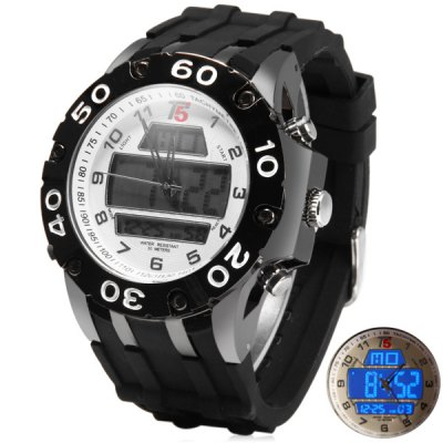 T5 3311 Double Shows LED Sports Watch Water Resistant Wristwatch