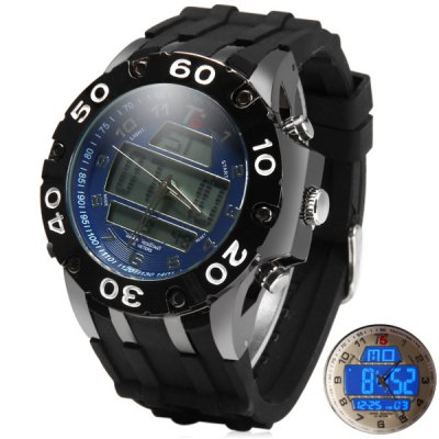 Фотография T5 3311 Double Shows LED Sports Watch Water Resistant Wristwatch