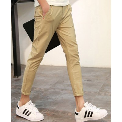 Гаджет   Slimming Zipper Fly Button Embellished Solid Color Narrow Feet Men