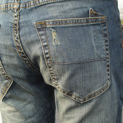 Фотография Slimming Stylish Hole Design Patched Splicing Narrow Feet Jeans For Men