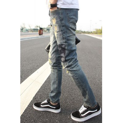 Slimming Stylish Hole Design Patched Splicing Narrow Feet Jeans For Men