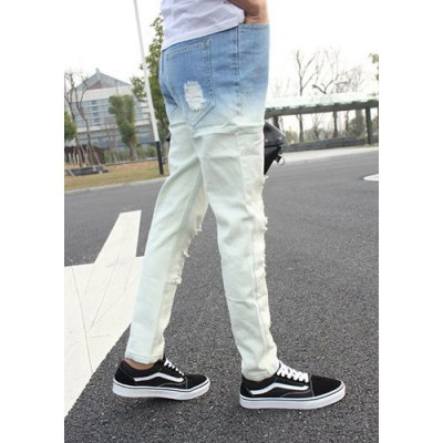 Slimming Stylish Hole Design Light Color Ombre Narrow Feet Denim Nine Minutes of Pants For MenMens Pants<br>Slimming Stylish Hole Design Light Color Ombre Narrow Feet Denim Nine Minutes of Pants For Men<br><br>Material: Jeans, Cotton, Polyester<br>Pant Length: Nine minutes of Pants<br>Fabric Type: Denim<br>Wash: Destroy Wash<br>Fit Type: Regular<br>Waist Type: Low<br>Closure Type: Zipper Fly<br>Weight: 0.556KG<br>Pant Style: Pencil Pants<br>Package Contents: 1 x Nine Minutes of Pants