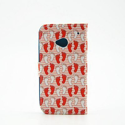 Гаджет   Painted Footprint Pattern Phone Cover PU Case Skin with Stand Function for HTC One M7 Other Cases/Covers