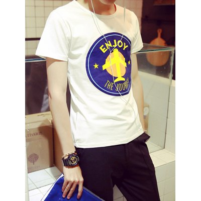 Гаджет   Laconic Cartoon Airplane Print Solid Color Slimming Round Neck Short Sleeves Men