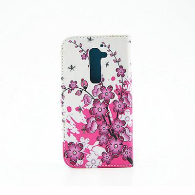 ФОТО Painting Purple Flowers Pattern Phone Cover PU Case Skin with Stand Function for LG G2