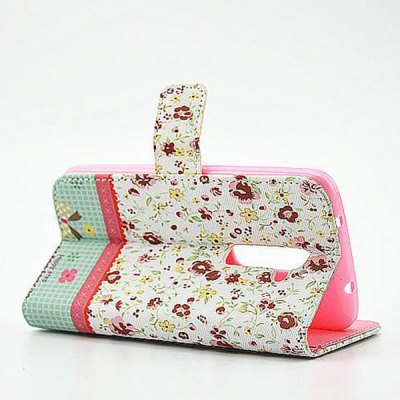 Фотография Floral Pattern Inlaid Diamond Phone Cover PU Case Skin with Stand Function for LG G2