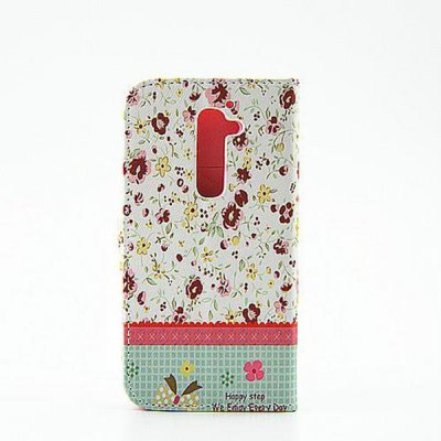 ФОТО Floral Pattern Inlaid Diamond Phone Cover PU Case Skin with Stand Function for LG G2