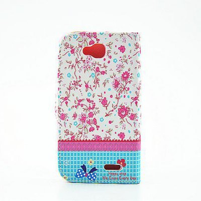 ФОТО Floral Pattern Inlaid Diamond Phone Cover PU Case Skin with Stand Function for LG L90