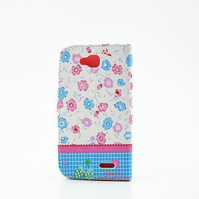 Floral Pattern Inlaid Diamond Phone Cover PU Case Skin with Stand Function for LG L90