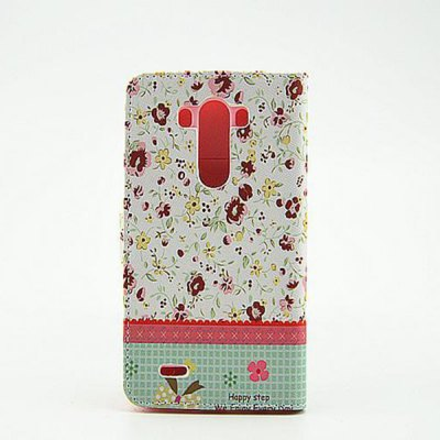 ФОТО Floral Pattern Inlaid Diamond Phone Cover PU Case Skin with Stand Function for LG G3