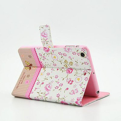 Фотография Floral Pattern Protective Cover Case of PU and PC Material for iPad mini