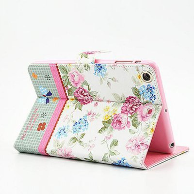 Фотография Floral Pattern Protective Cover Case of PU and PC Material for iPad mini 2