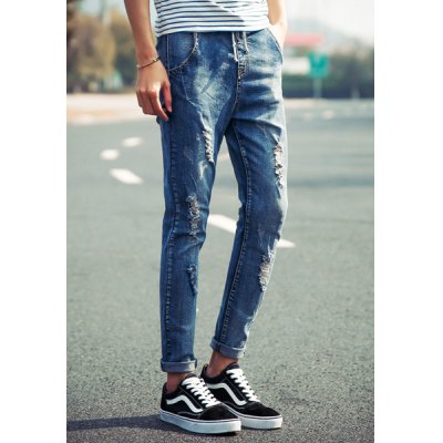 Гаджет   Trendy Lace-Up Hole and Pocket Embellished Slimming Narrow Feet Men