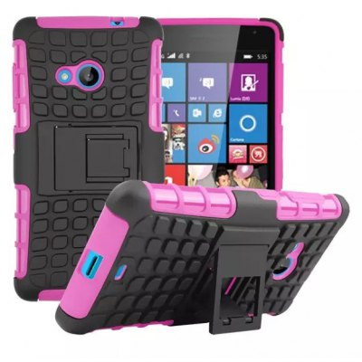 Stand Design TPU and PC Material Tire Pattern Protective Back Cover Case for Microsoft Lumia 535