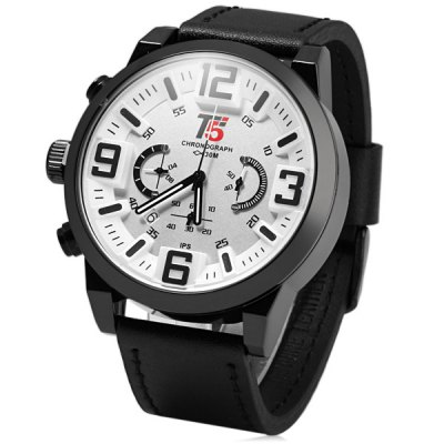 T5 3395 Male Chronograph Quartz Watch Genuine Leather Band WristwatchMens Watches<br>T5 3395 Male Chronograph Quartz Watch Genuine Leather Band Wristwatch<br><br>Brand: T5<br>Watches categories: Male table<br>Watch style: Business<br>Available color: White, Red, Silver, Black<br>Movement type: Quartz watch<br>Shape of the dial: Round<br>Display type: Analog<br>Case material: Stainless steel<br>Band material: Genuine leather<br>Clasp type: Pin buckle<br>Special features: Moving small three stitches, Date<br>Water Resistance: 30 meters<br>The dial thickness: 1.5 cm / 0.59 inches<br>The dial diameter: 5.0 cm / 1.97 inches<br>The band width: 2.4 cm / 0.94 inches<br>Product weight: 0.090 kg<br>Package weight: 0.14 kg<br>Product size (L x W x H): 26.6 x 5.0 x 1.5 cm / 10.45 x 1.97 x 0.59 inches<br>Package size (L x W x H): 27.6 x 6.0 x 2.5 cm / 10.85 x 2.36 x 0.98 inches<br>Package Contents: 1 x T5 3395 Watch