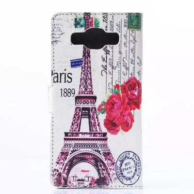 ФОТО Rose and Eiffel Tower Pattern Phone Cover PU Case Skin with Stand Function for Samsung GALAXY A3