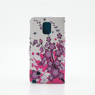 ФОТО Painting Purple Flowers Pattern Phone Cover PU Case Skin with Stand Function for Samsung GALAXY Note4